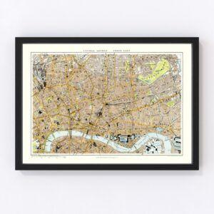 Vintage Map of Central & Northeast London, England 1904
