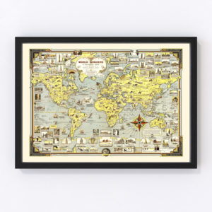 Vintage Pictorial World Map 1939