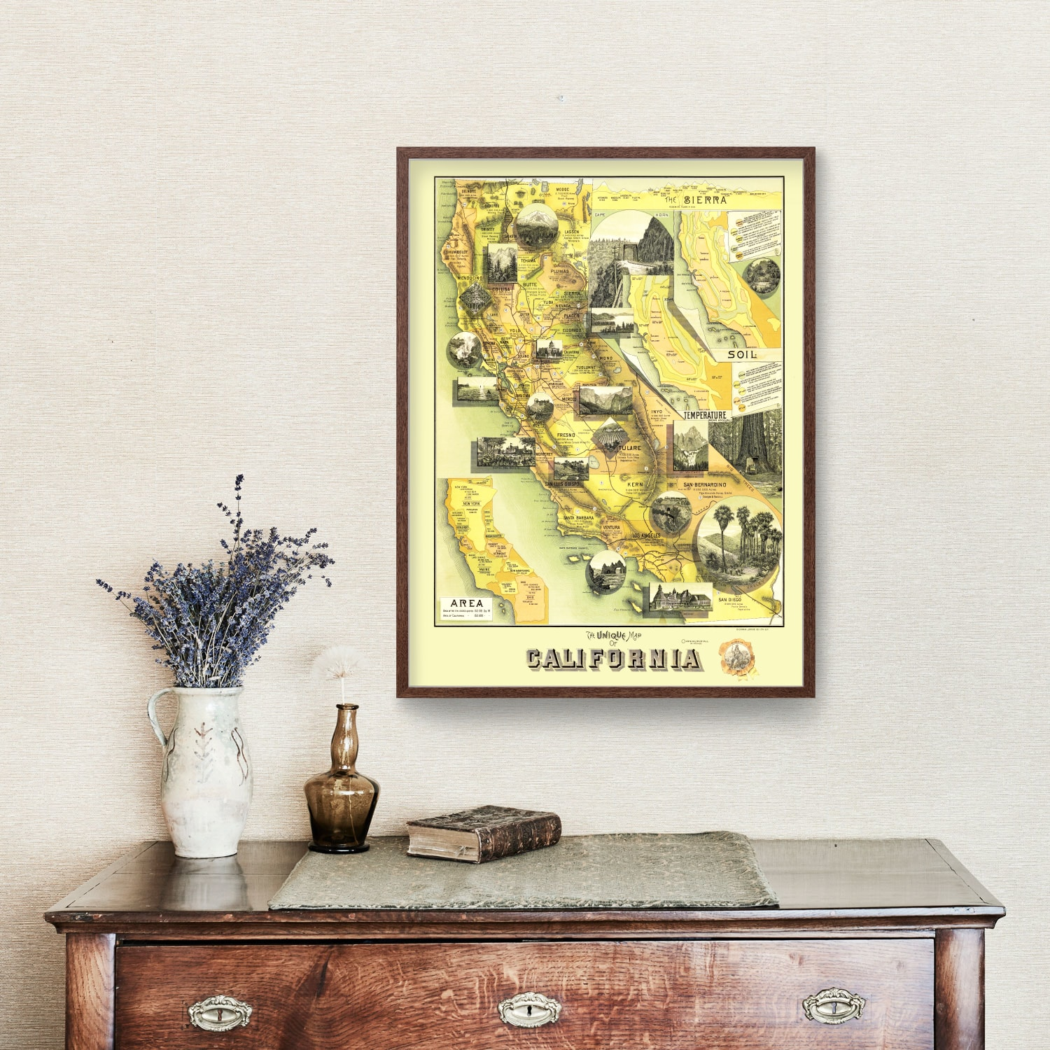 Vintage Map of California 1885