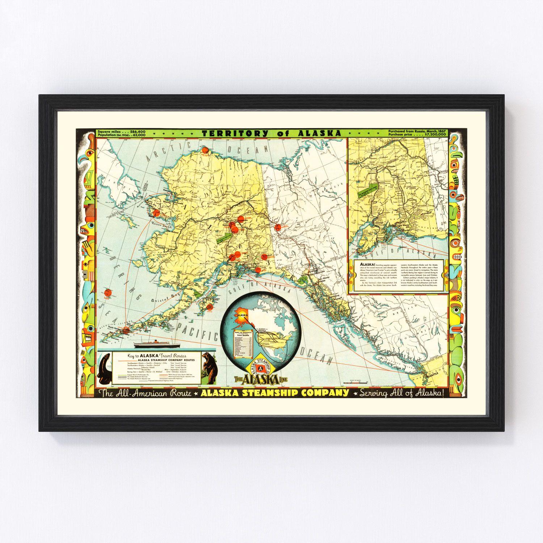 Vintage Map of Alaska 1936