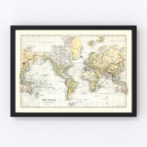 Vintage Map of the World 1892