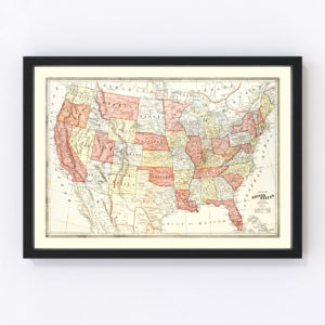 Vintage Map of United States 1883