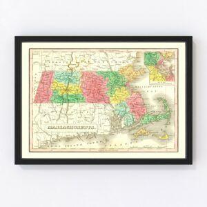 Vintage Map of Massachusetts 1831