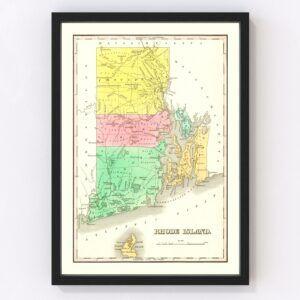 Vintage Map of Rhode Island 1831