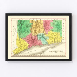 Vintage Map of Connecticut 1831