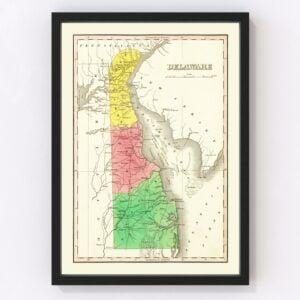 Vintage Map of Delaware 1831