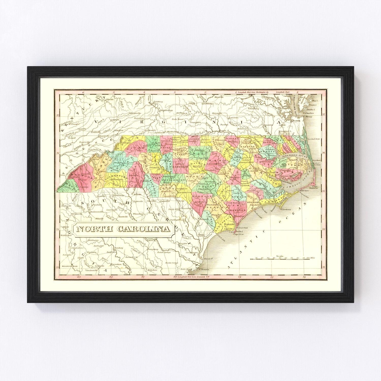 Vintage Map of North Carolina 1831