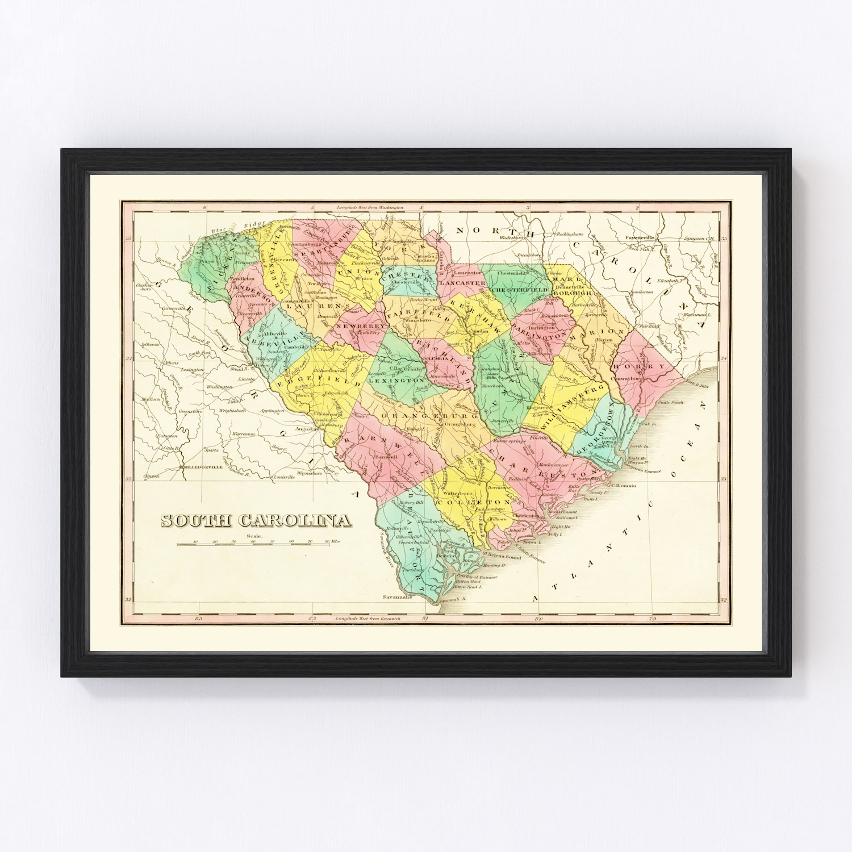 Vintage Map of South Carolina 1831