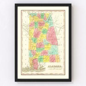 Vintage Map of Alabama 1831