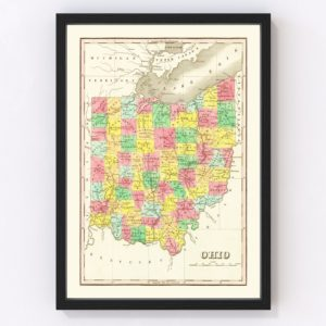 Vintage Map of Ohio 1831