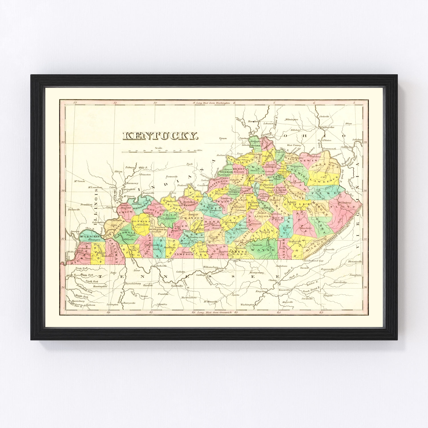 Vintage Map of Tennessee 1831