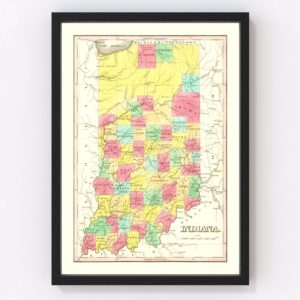 Vintage Map of Indiana 1831