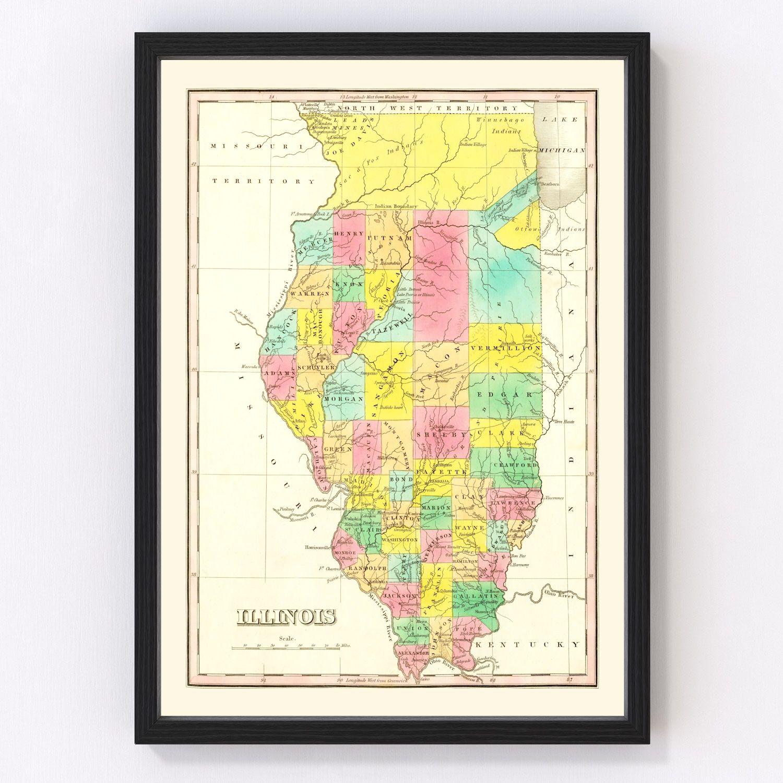 Vintage Map of Illinois 1831