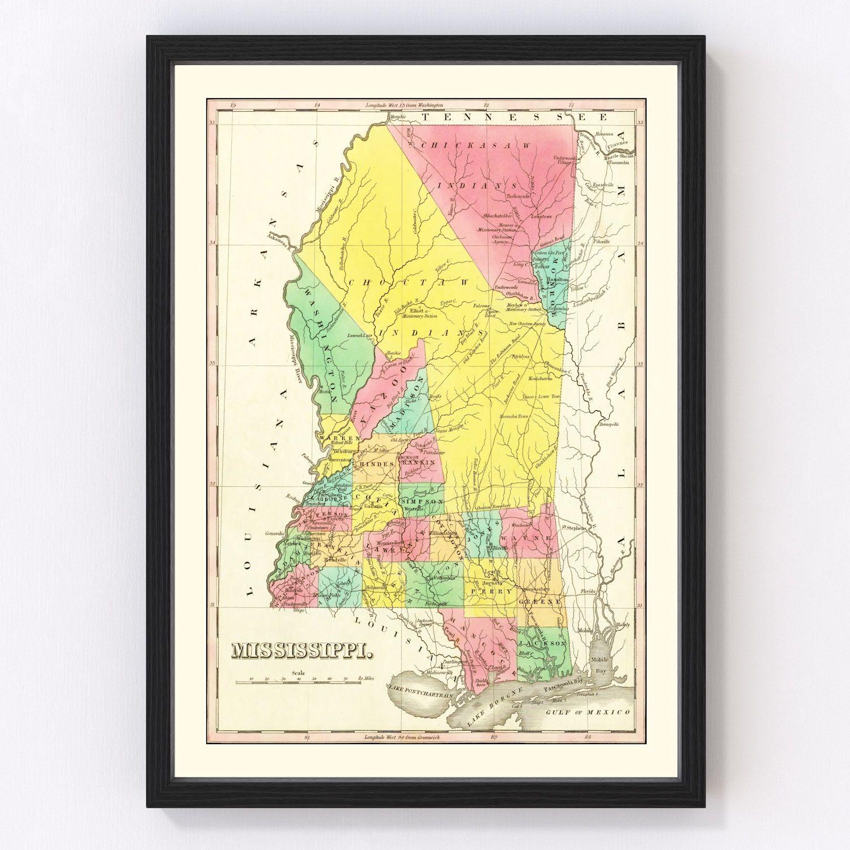 Vintage Map of Mississippi 1831