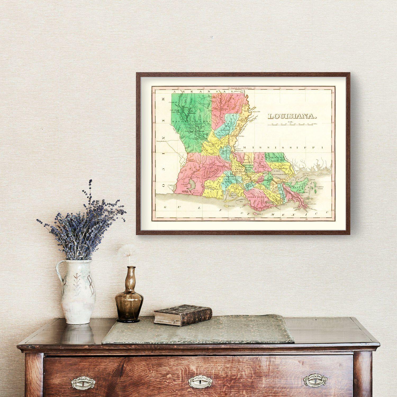 Vintage Map of Louisiana 1831