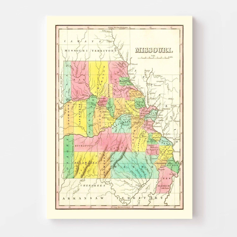 Vintage Map of Missouri 1831