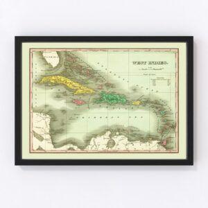Vintage Map of West Indies 1831
