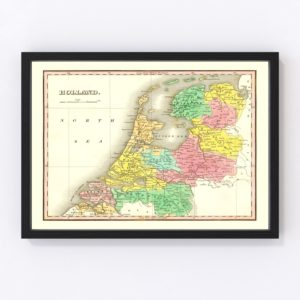 Vintage Map of Holland 1831