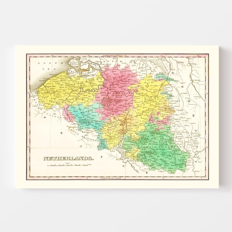 Vintage Map of Netherlands 1831