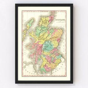 Vintage Map of Scotland 1831