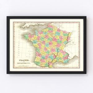 Old Map of France in Departments 1831