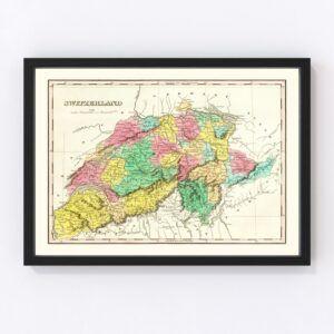 Vintage Map of Switzerland 1831