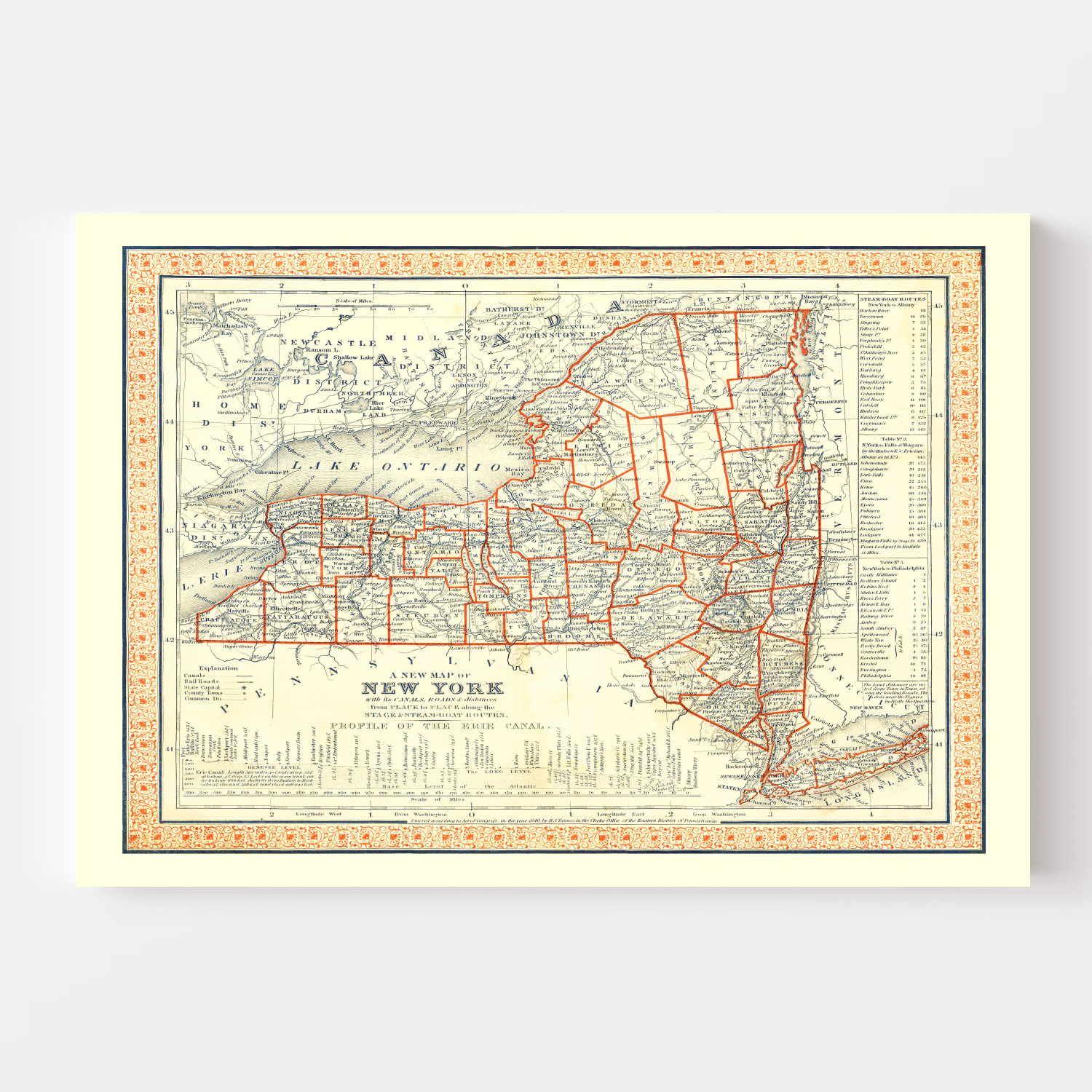 Vintage Map of New York 1846