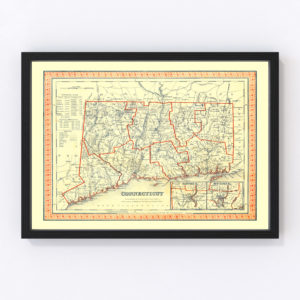 Vintage Map of Connecticut 1846