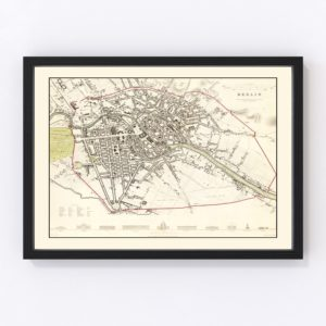Vintage Map of Berlin, Germany 1833