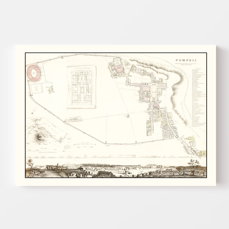 Vintage Map of Pompeii, Italy 1832
