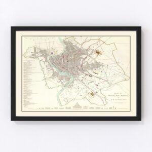 Vintage Map of Stockholm, Sweden 1838
