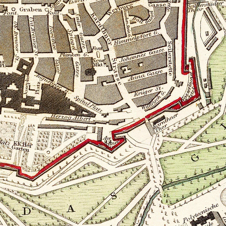 Vintage Map of Vienna, Austria 1833
