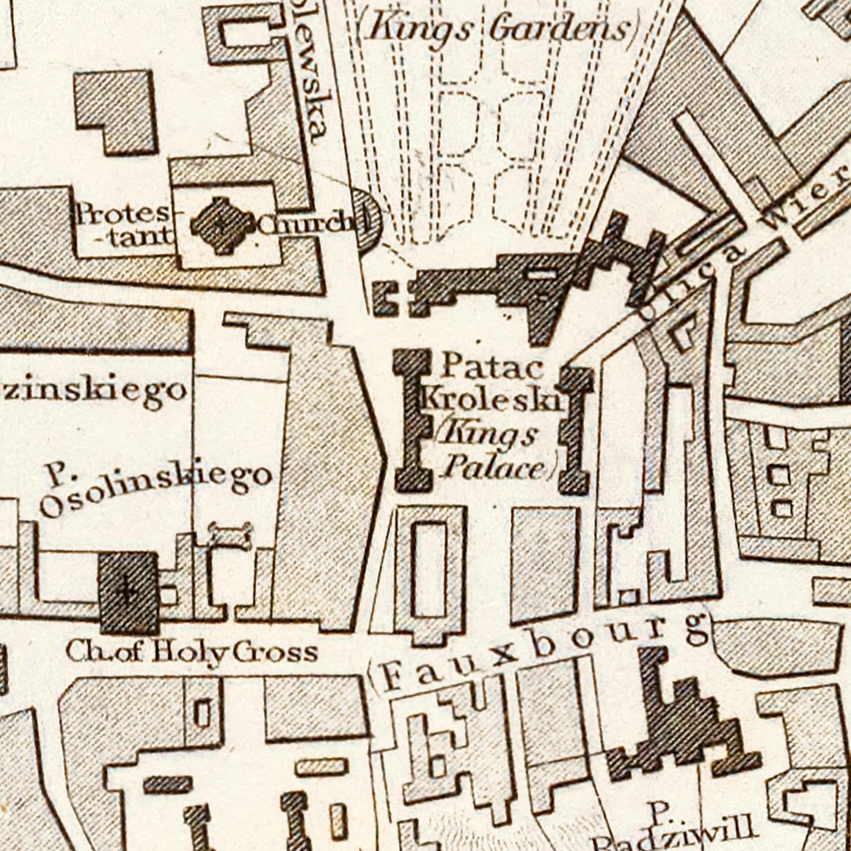 Vintage Map of Warsaw, Poland 1831