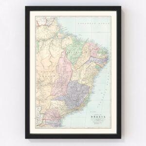 Vintage Map of Brazil 1904
