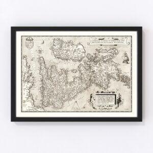 Vintage Map of England, Scotland & Ireland 1570