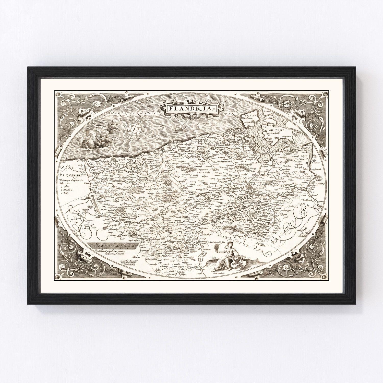 Vintage Map of Flanders, Belgium 1570