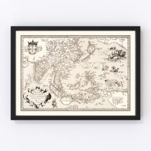 Vintage Map of India, Japan, China & Indonesia 1570