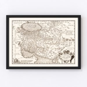 Vintage Map of Persian Empire, 1570