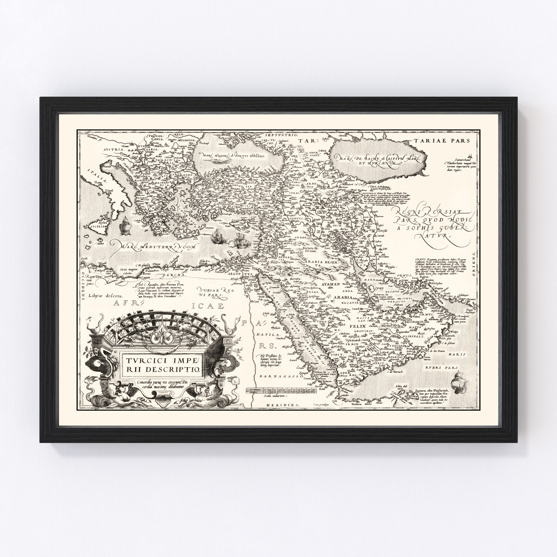 Vintage Map of Turkish Empire, 1570