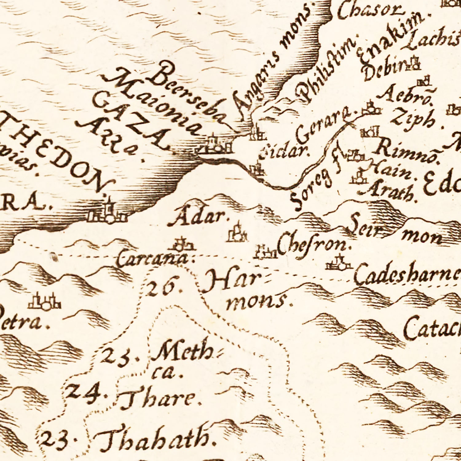 Vintage Map of The Holy Lands, 1570