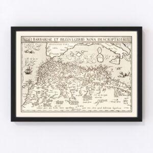 Vintage Map of North Africa & the Mediterranean Sea, 1570