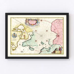 Vintage Map of North Pole, 1665