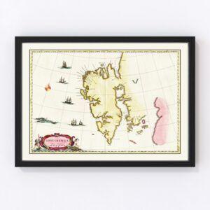 Vintage Map of Spitsbergen, 1665
