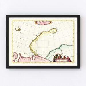Vintage Map of Nova Zembla, 1665