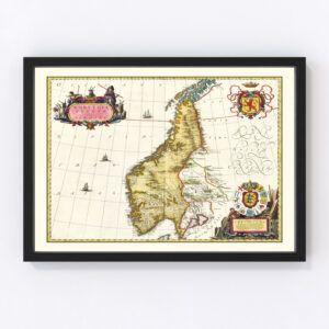 Vintage Map of Norway 1665
