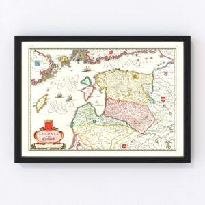 Vintage Map of Estonia, Latvia & Lithuania 1665
