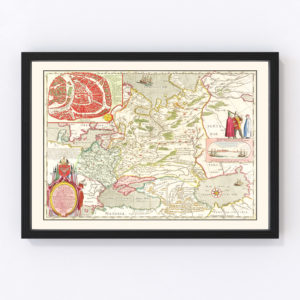Vintage Map of Russia 1665