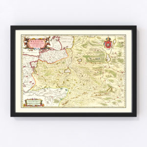 Vintage Map of Moscow Region of Russia 1665