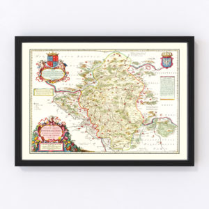 Vintage Map of Poland 1665