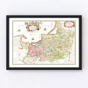 Vintage Map of Prussia 1665